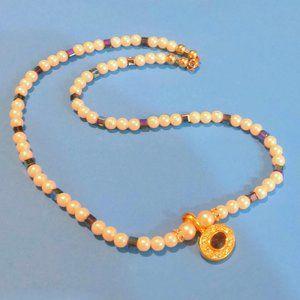 Avon Faux Pearl Blue Rhinestone Pendant Necklace